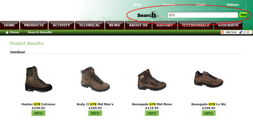 ecommerce search function