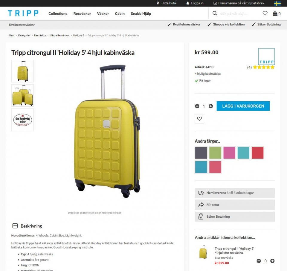 Tripp Swedish Product Page