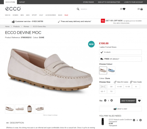 ECCO Shoes Product Page