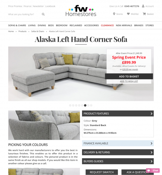 FW Homestores Product Page